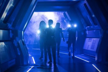 """""""Saints of Imperfection"""" -- Episode #205 -- Pictured (l-r): Mary Wiseman as Tilly; Sonequa Martin-Green as Burnham; Bahia Watson as May; Anthony Rapp as Stamets of the CBS All Access series STAR TREK: DISCOVERY. Photo Cr: Michael Gibson/CBS ©2018 CBS Interactive, Inc. All Rights Reserved."""