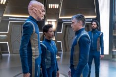 """The Sound of Thunder"" -- Episode #206 -- Pictured (l-r): Doug Jones as Saru; Sonequa Martin-Green as Burnham; Anson Mount as Pike; Shazad Latif as Tyler of the CBS All Access series STAR TREK: DISCOVERY. Photo Cr: Michael Gibson/CBS ©2018 CBS Interactive, Inc. All Rights Reserved."