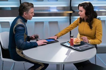 Ep #204 - Pictured (l-r): Anson Mount as Pike; Rebecca Romijn as Number One of the CBS All Access series STAR TREK: DISCOVERY. Photo Cr: Michael Gibson/CBS © 2018 CBS Interactive. All Rights Reserved.