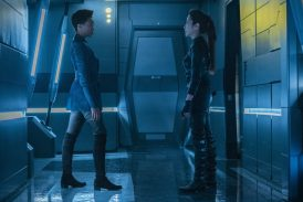 """Light and Shadows"" -- Episode #207 -- Pictured (l-r): Sonequa Martin-Green as Burnham; Michelle Yeoh as Georgiou of the CBS All Access series STAR TREK: DISCOVERY. Photo Cr: Michael Gibson/CBS ©2018 CBS Interactive, Inc. All Rights Reserved."