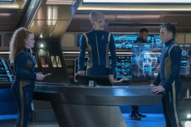 """Light and Shadows"" -- Episode #207 -- Pictured (l-r): Mary Wiseman as Tilly; Doug Jones as Saru; Anson Mount as Pike of the CBS All Access series STAR TREK: DISCOVERY. Photo Cr: Michael Gibson/CBS ©2018 CBS Interactive, Inc. All Rights Reserved."