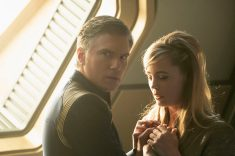 """If Memory Serves"" -- Ep#208 -- Pictured (l-r): Anson Mount as Captain Pike; Melissa George as Vina of the CBS All Access series STAR TREK: DISCOVERY. Photo Cr: Michael Gibson/CBS ©2018 CBS Interactive, Inc. All Rights Reserved."