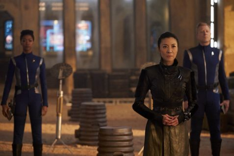 """Perpetual Infinity"" -- Ep#211 -- Pictured (l-r): Sonequa Martin-Green as Burnham; Michelle Yeoh as Georgiou; Anthony Rapp as Stamets of the CBS All Access series STAR TREK: DISCOVERY. Photo Cr: Steve Wilkie/CBS ©2018 CBS Interactive, Inc. All Rights Reserved."