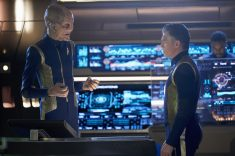 """Perpetual Infinity"" -- Ep#211 -- Pictured (l-r): Doug Jones as Saru; Anson Mount as Captain Pike of the CBS All Access series STAR TREK: DISCOVERY. Photo Cr: Steve Wilkie/CBS ©2018 CBS Interactive, Inc. All Rights Reserved."