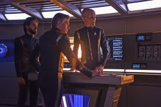 """Perpetual Infinity"" -- Ep#211 -- Pictured (l-r): Shazad Latif as Tyler; Anson Mount as Captain Pike; Doug Jones as Saru of the CBS All Access series STAR TREK: DISCOVERY. Photo Cr: John Medland/CBS ©2018 CBS Interactive, Inc. All Rights Reserved."