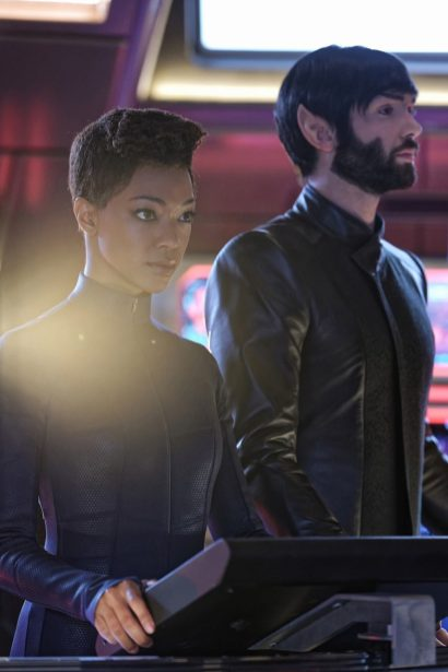 """Such Sweet Sorrow"" -- Ep#213 -- Pictured (l-r): Sonequa Martin-Green as Burnham; Ethan Peck as Spock of the CBS All Access series STAR TREK: DISCOVERY. Photo Cr: Ben Mark Holzberg/CBS ©2018 CBS Interactive, Inc. All Rights Reserved."
