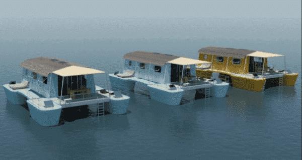 farea la maison flottante autonome et d montable. Black Bedroom Furniture Sets. Home Design Ideas
