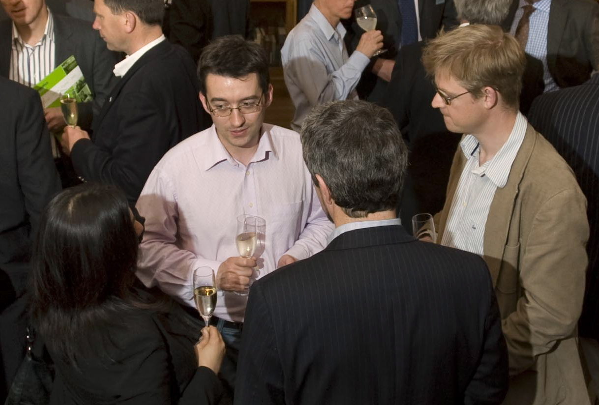 Friendly networking chat at the VIP dinner following Engage Invest Exploit - Sacha, Ewan, Nigel, and an unidentified suspect... surely their business conversations were tasteful, not tacky