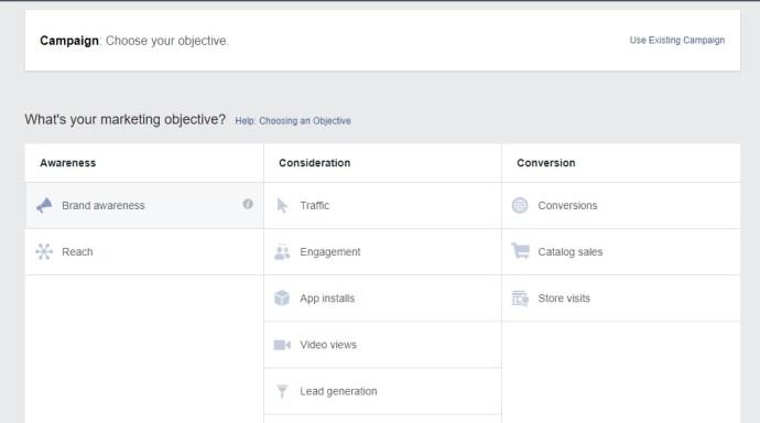Facebook ads goals/ objective screen 01