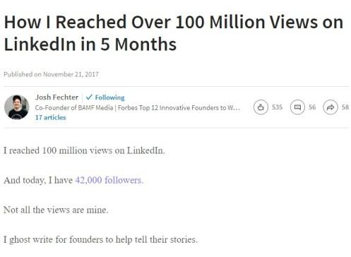 Josh Fechter LinkedIn Story - LinkedIn marketing best practices guide