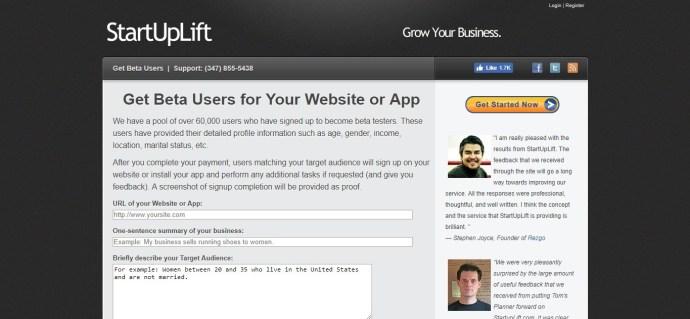 StartUpLift - Beta Users page for beta testing desktop programs or apps. Desktop and mobile app beta testing sites