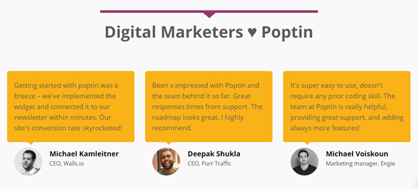 poptin testimonials example for startup front page web design