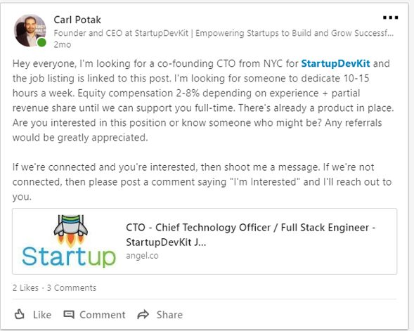 StartupDevKit LinkedIn Post CTO Search Example
