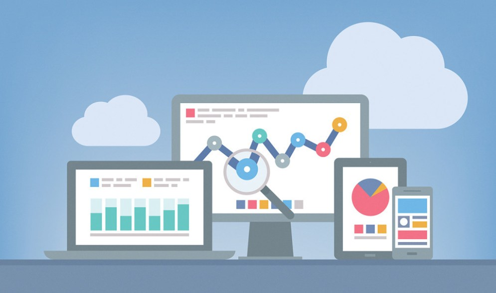 Flat design modern vector illustration concept of website analytics and SEO data analysis using modern electronic and mobile devices. Isolated on grey background