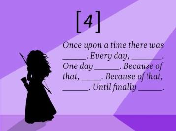 Il était une fois ____. Tous les jours, ____. Un jour ____. C'est pourquoi, ____. C'est pourquoi ____. Jusqu'à ce que finalement ____.