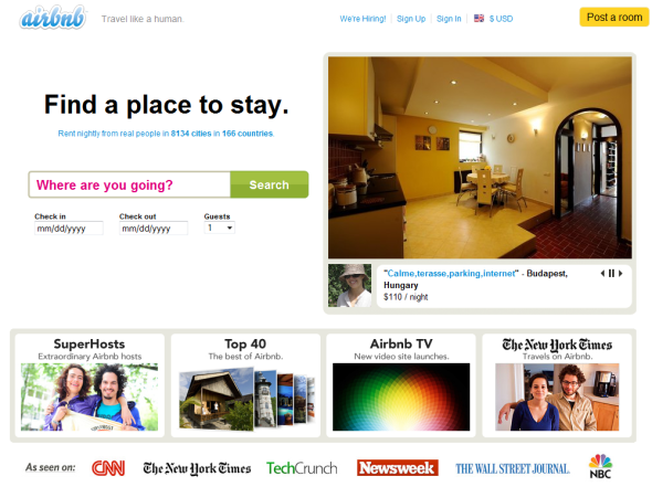 Airbnb - Featured on StartUpLift