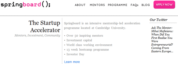 Springboard The Startup Accelerator - Featured on StartUpLift
