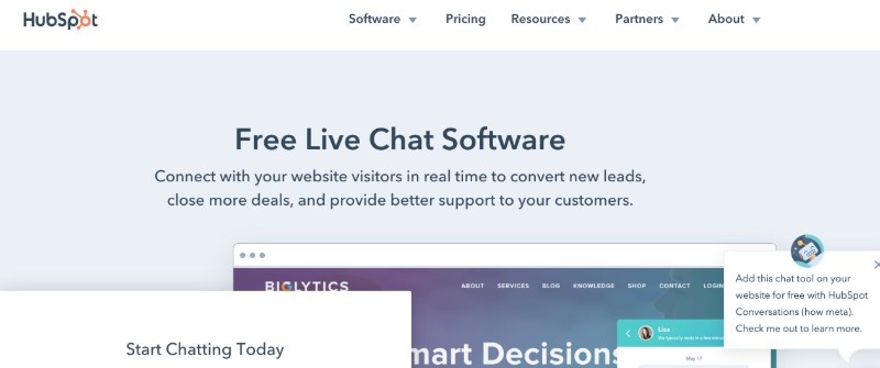 HubSpot Free Chat - Best LiveChat Software - The Best Customer Support Tool for Small Business & Startups