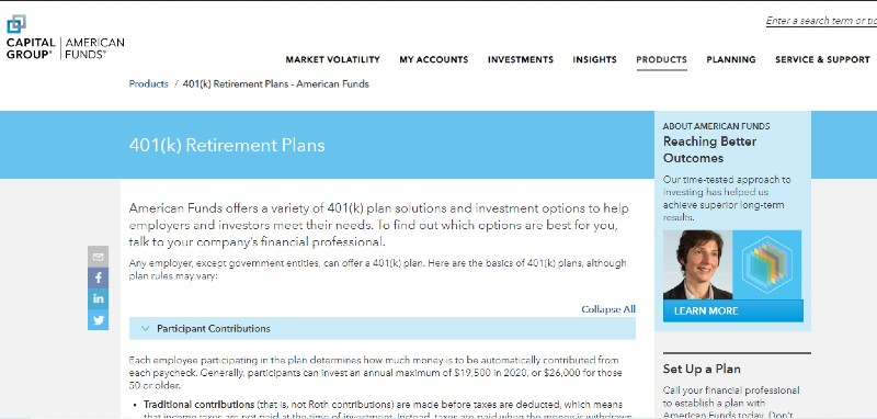 Capital Group American Group - Best Small Business 401k Plans