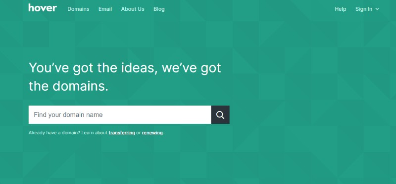 Hover - The Best Domain Registrars