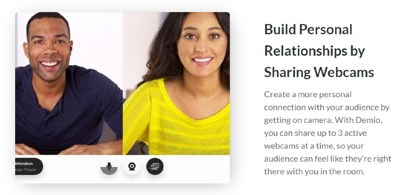 Webcam Sharing - Demio Review: Webinar Software for Marketers