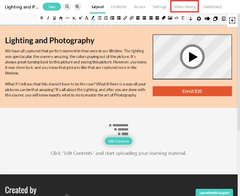Video library - LearnWorlds Review: Create and Sell Online Courses