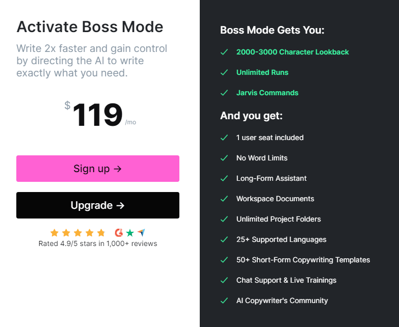 jarvis.ai boss mode: how much does it cost?