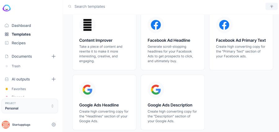 google ads generator: copywriting templates