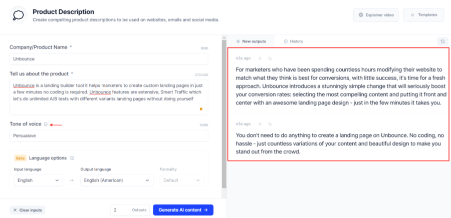 generated product description examples