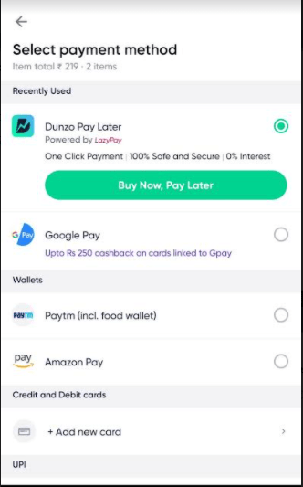 LazyPay Powers Dunzo's Pay Later Payment Flow