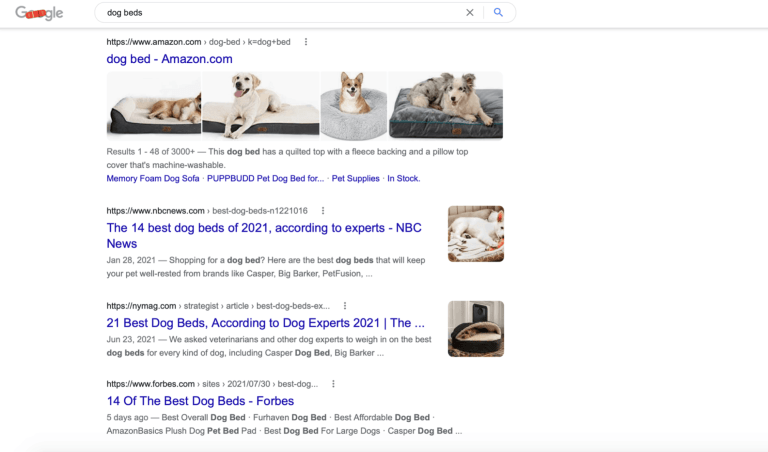 google search results page for dog breeds