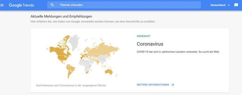 Google Trends Startseite (Screenshot: Google)