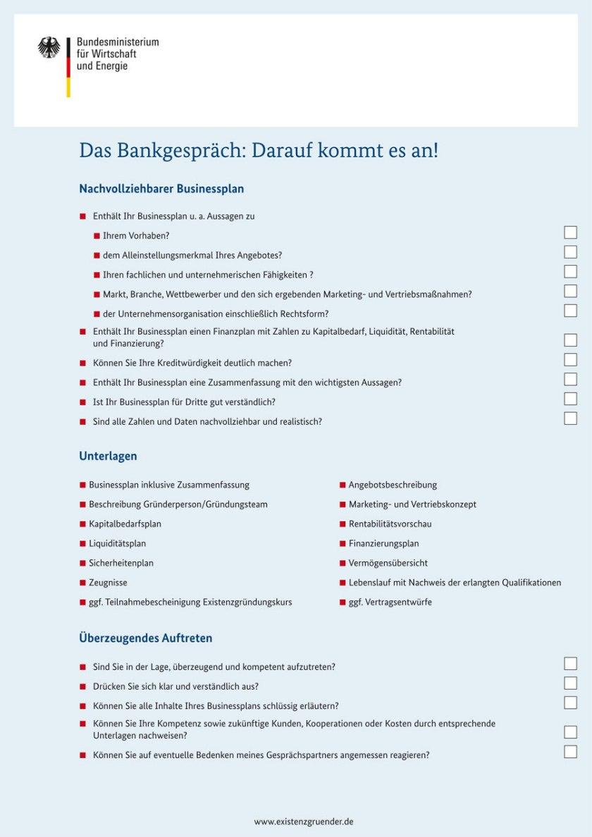 Bankgespräch Checkliste (Bild: BMWi)