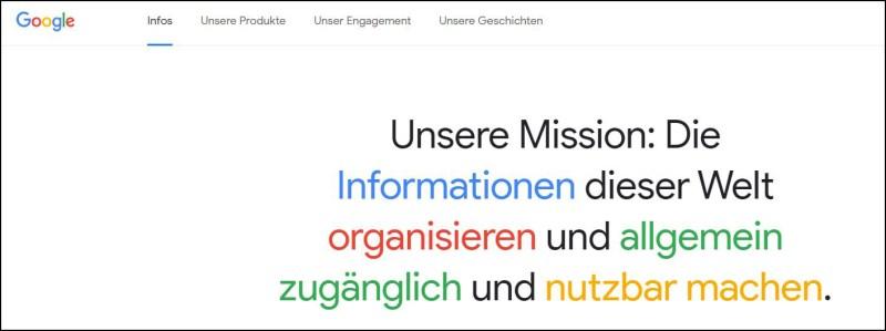 Über uns Seite von Google (Bild: Google)