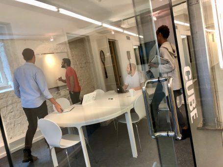 """Brainstorming in the """"Cube"""" meeting room"""