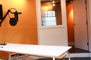 View of the vocal/social booth in-studio
