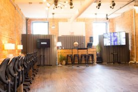 Space can be cleared in front of the presentation area for DJs or standing presentations