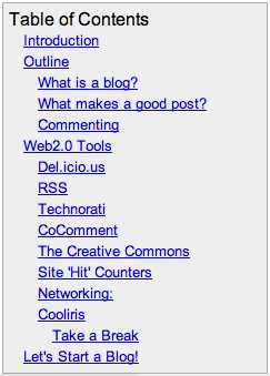 Start Your Own Blog Wiki -Table of Contents