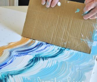 Drag your card board across your paint to make your design- a great way to make …