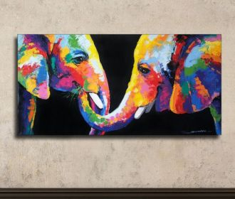 Colorful Elephant Painting 40x80cm