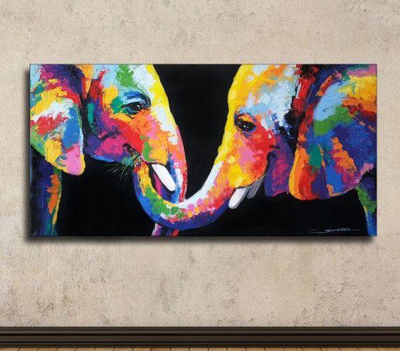Colorful Elephant Painting 40x80cm