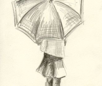 Girl with Umbrella – 4×6 – Pencil Study on Etsy, $20.00