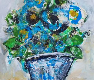 ORIGINAL BLUE FLOWERS ABSTRACT ACCENT COLOR PAINTING BY ARTIST NORMAN COURTNEY