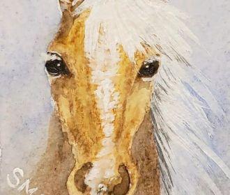 ACEO ATC Palomino Horse Original Art Mixed Media Painting Animal Equine Artwork