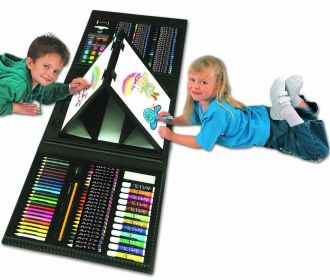 Art Set Kids Piece Drawing Artist Painting 101 Kit Case Easel Pencils Trifold