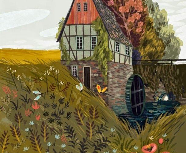 An illustration of a beautiful pastoral countryside home surrrounding by fauna, …
