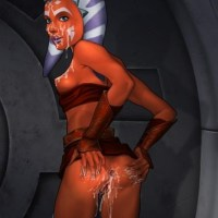 Ahsoka sucks and fucks Anakin and Obi-wan and she takes a cum load in both of her tight holes and one all over her pretty face!