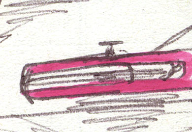 Close up detail of the drawing of the landspeeder