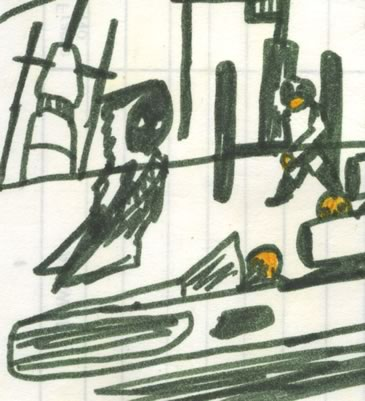 ghostly drifting jawa, and insect head man, in Mos Eisley spaceport