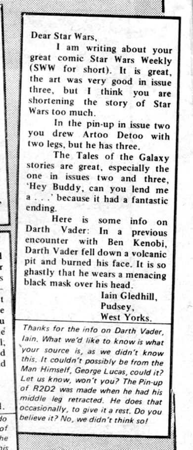 letter to star wars weekly iain gledhill